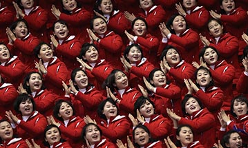 Cheerleaders for North Korea at the Winter Olmpics in the South