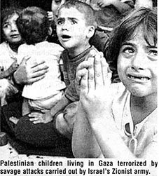Palestinian children terrorised by repeated Zionist raids and bombing