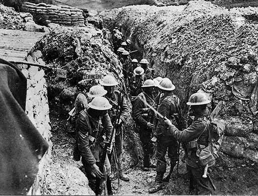 WW1 Troops wait over the top at Battle of the Somme
