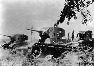 The USSR sent tanks artillery and mnany volunteers to fight Franco